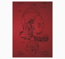 Football Helmet Patent  From 1927 - Red One Piece - Short Sleeve
