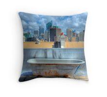 Old Bathtub on Rooftop - Darlinghurst, Sydney, Australia Throw Pillow