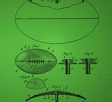 Football Patent Drawing From 1903 - Green by chris2766