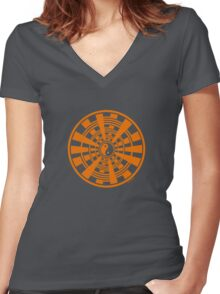 Mandala 36 Yin-Yang Vitamin C Women's Fitted V-Neck T-Shirt