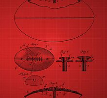 Football Patent Drawing From 1903 - Red by chris2766