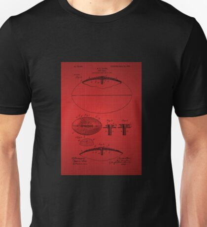 Football Patent Drawing From 1903 - Red Unisex T-Shirt