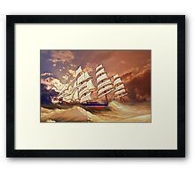 Cutty Sark in Heavy Seas Framed Print