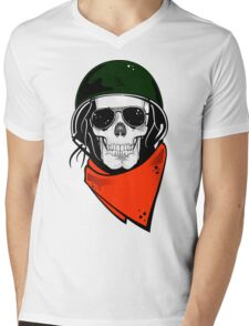 Military Skull Mens V-Neck T-Shirt
