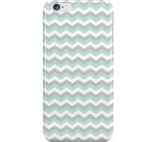 White Mint Green Gray Chevron Zigzag Pattern iPhone Case/Skin