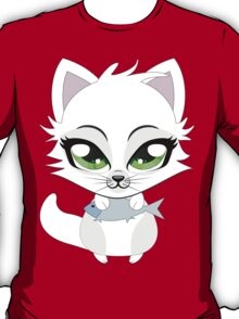 Cute cartoon little white kitten holds fish T-Shirt