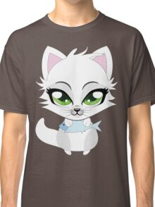 Cute cartoon little white kitten holds fish Classic T-Shirt