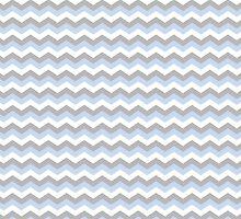 White, Blue Grey Chevron Zigzag Pattern by TigerLynx