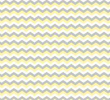 White, Yellow Gray Chevron Zigzag Pattern by TigerLynx