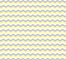 White, Yellow Gray Chevron Zigzag Pattern by TigerLynx