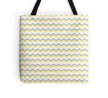 White, Yellow Gray Chevron Zigzag Pattern Tote Bag