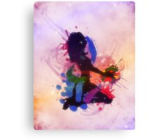 Grunge colorful illustration of a music DJ Canvas Print