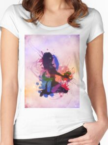 Grunge colorful illustration of a music DJ Women's Fitted Scoop T-Shirt