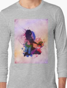 Grunge colorful illustration of a music DJ Long Sleeve T-Shirt