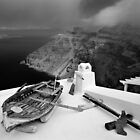 Boat on the roof - Santorini island by Hercules Milas