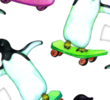 Skating Penguins - a cute hand drawn pattern Sticker