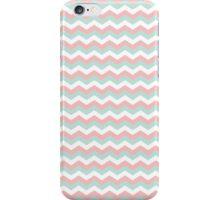 Coral Mint Green White Chevron Zigzag Pattern iPhone Case/Skin