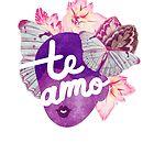 Te Amo Typography Portrait by TabithaBianca