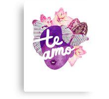 Te Amo Typography Portrait Canvas Print