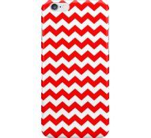 Red White Chevron Zigzag Stripe Pattern iPhone Case/Skin