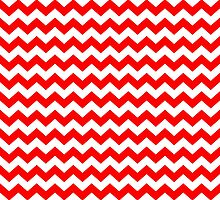 Red White Chevron Zigzag Stripe Pattern by TigerLynx