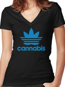 """Cannabis """"Adidas"""" Women's Fitted V-Neck T-Shirt"""
