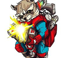 Raccoon with a bazooka rocket by Baipodo