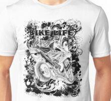 BIKE LIFE(PHAT BACK) BLACK AND WHITE Unisex T-Shirt