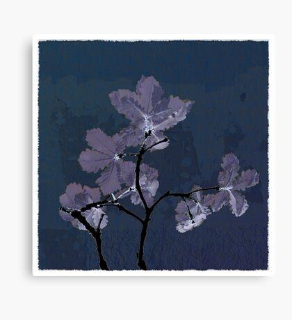 Oak Leaves - Blue Texture Canvas Print