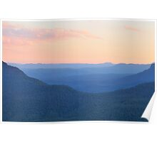 Watercolour Dusk - Blue Mountains World Heritage Area, Australia Poster