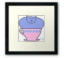 Funny Cat in a Teacup  Framed Print