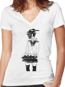 glitch girl Women's Fitted V-Neck T-Shirt