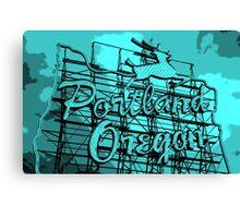 Welcome to Portland (Posterized Aqua) Canvas Print