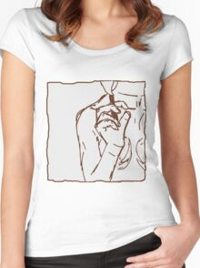 brown ink cigarette sketch Women's Fitted Scoop T-Shirt
