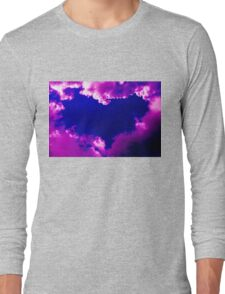 Purple heart and pink clouds Long Sleeve T-Shirt