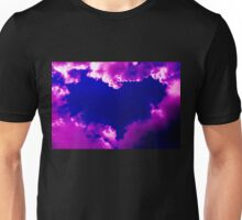 Purple heart and pink clouds Unisex T-Shirt