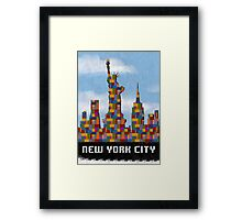 Statue of Liberty New York City Skyline Made With Lego Like Blocks Framed Print