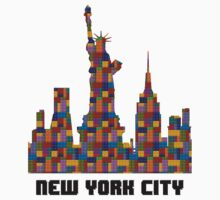 Statue of Liberty New York City Skyline Made With Lego Like Blocks Kids Tee