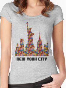 Statue of Liberty New York City Skyline Made With Lego Like Blocks Women's Fitted Scoop T-Shirt