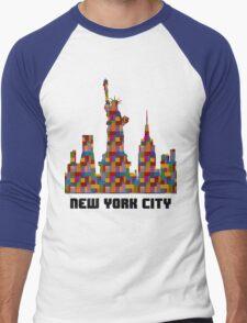 Statue of Liberty New York City Skyline Made With Lego Like Blocks Men's Baseball ¾ T-Shirt