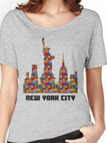 Statue of Liberty New York City Skyline Made With Lego Like Blocks Women's Relaxed Fit T-Shirt
