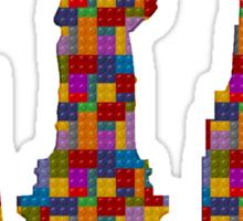 Statue of Liberty New York City Skyline Made With Lego Like Blocks Sticker