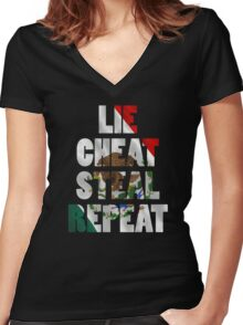 LIE CHEAT STEAL REPEAT Women's Fitted V-Neck T-Shirt