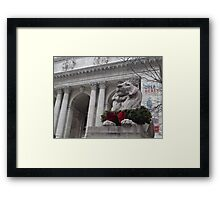 Lion Sculpture, New York Public Library, New York City Framed Print