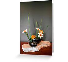 Daffodil ikebana in two containers Greeting Card