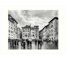 A Classic Italian Piazza In Rome Art Print