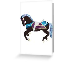 Black and Teal Carousel Horse Greeting Card