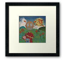 A Girl with a Bird and the Sun. Framed Print