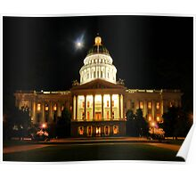 California State Capitol in Sacramento at night 2 Poster