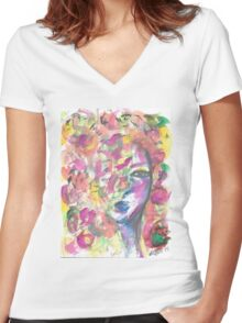 the girl behind the flowers Women's Fitted V-Neck T-Shirt